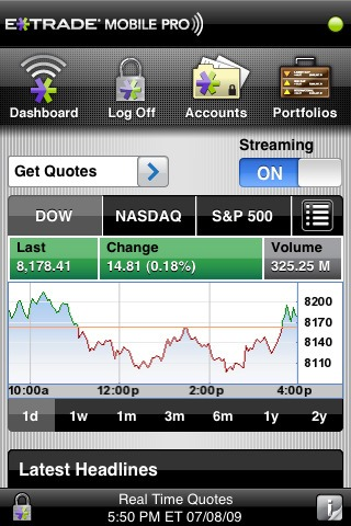 E*Trade Mobile Pro on iPad