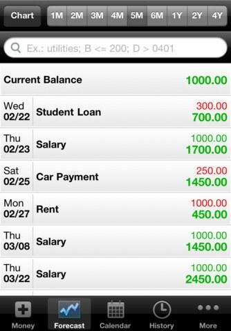 balance forcasting app